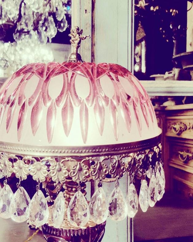 1950年代<br>法國粉色水晶桌燈 2