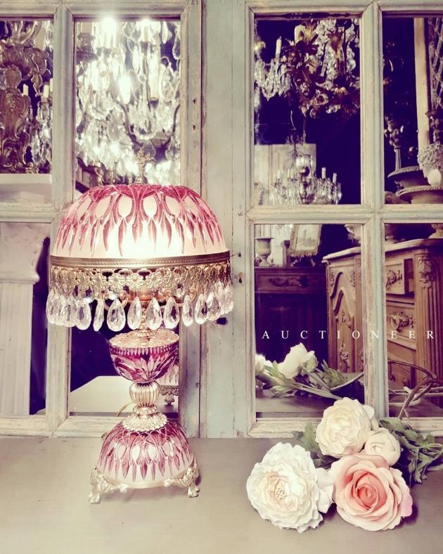 1950年代<br>法國粉色水晶桌燈 1